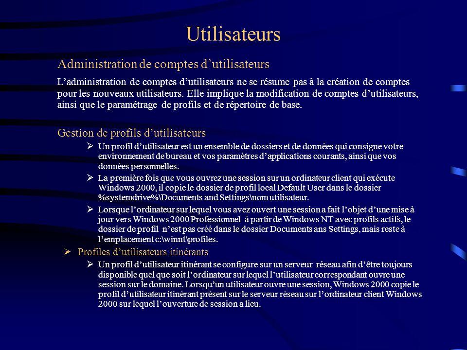 Utilisateurs Administration de comptes dutilisateurs Ladministration de comptes dutilisateurs ne se résume pas à la création de comptes pour les nouve