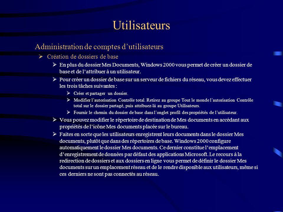 Utilisateurs Administration de comptes dutilisateurs Création de dossiers de base En plus du dossier Mes Documents, Windows 2000 vous permet de créer