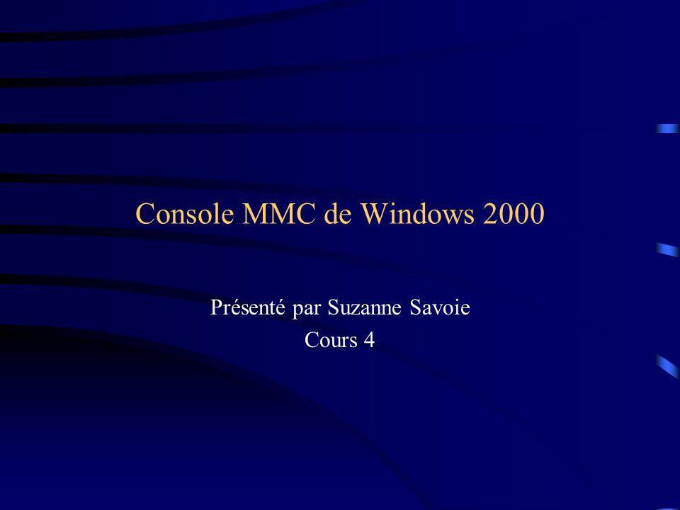 Console MMC de Windows 2000 Présenté par Suzanne Savoie Cours 4