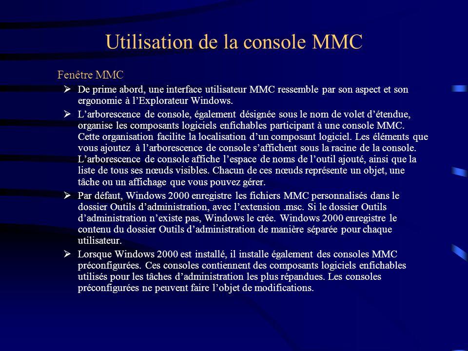Utilisation de la console MMC Fenêtre MMC De prime abord, une interface utilisateur MMC ressemble par son aspect et son ergonomie à lExplorateur Windows.