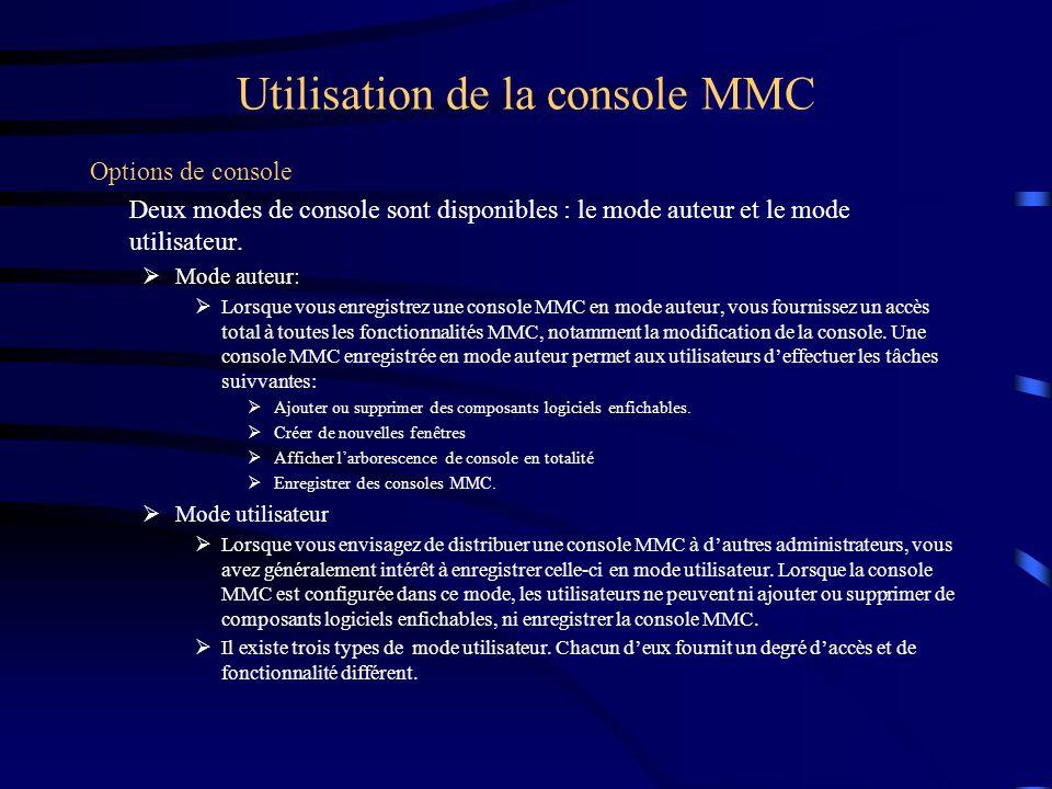 Utilisation de la console MMC Options de console Deux modes de console sont disponibles : le mode auteur et le mode utilisateur.