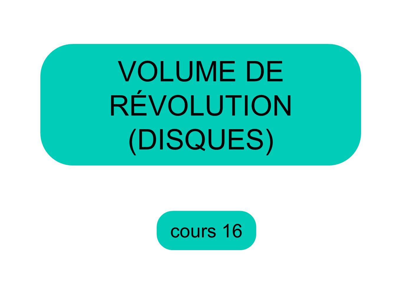 cours 16 VOLUME DE RÉVOLUTION (DISQUES)