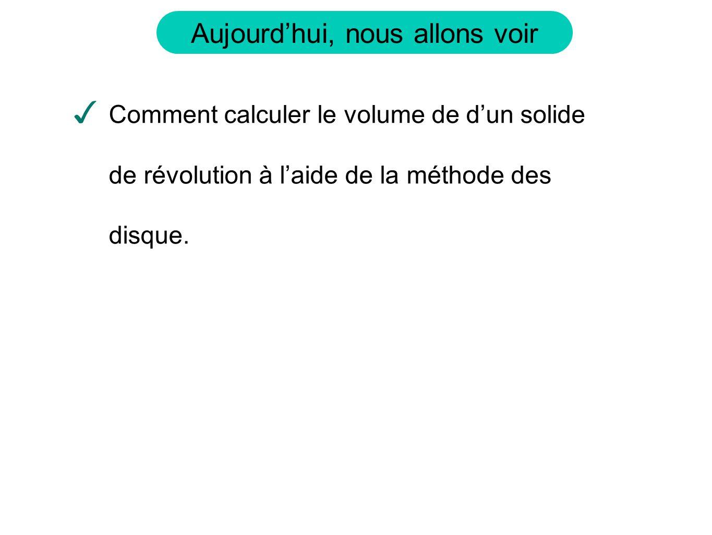 Aujourdhui, nous allons voir Comment calculer le volume de dun solide de révolution à laide de la méthode des disque.