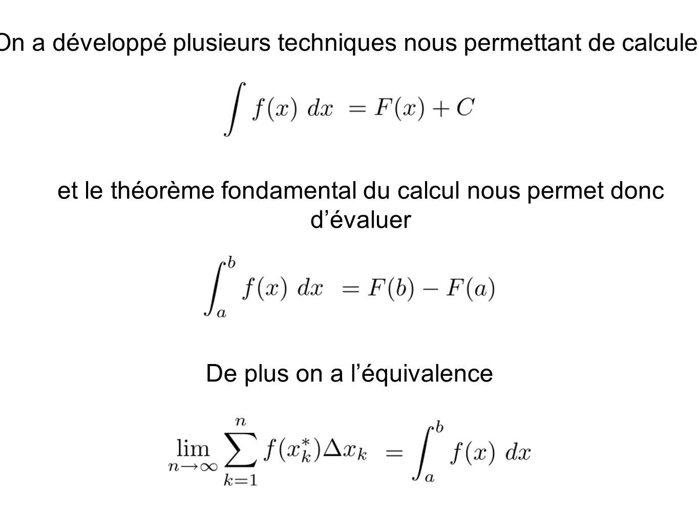 On a développé plusieurs techniques nous permettant de calculer et le théorème fondamental du calcul nous permet donc dévaluer De plus on a léquivalen