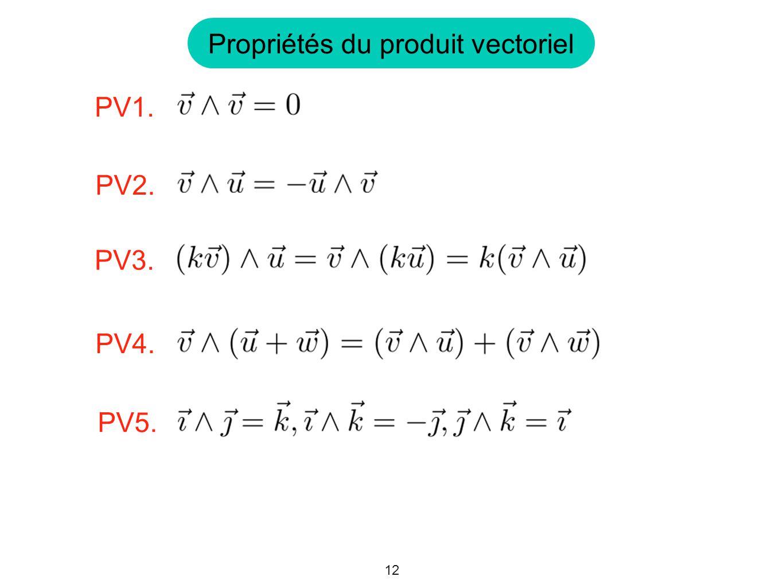 12 Propriétés du produit vectoriel PV1. PV3. PV4. PV2. PV5.