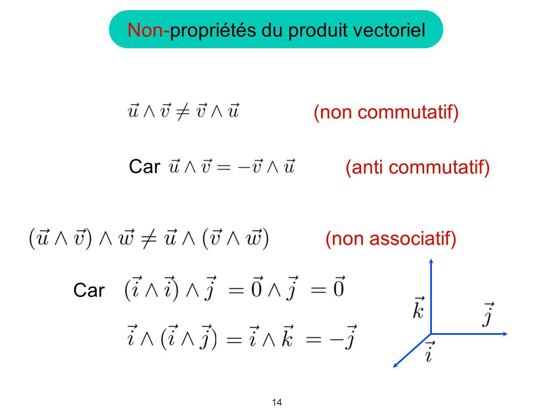 14 Non-propriétés du produit vectoriel (non associatif) Car (anti commutatif) (non commutatif)
