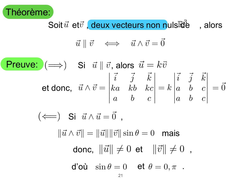 21 Théorème: Preuve: mais donc, et, Soit et, deux vecteurs non nuls de, alors, alors et donc, doù Si, Si et.