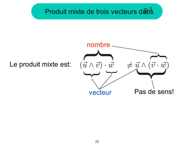 23 Produit mixte de trois vecteurs dans Le produit mixte est: vecteur nombre Pas de sens!
