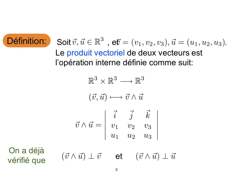 9 Définition: Le produit vectoriel de deux vecteurs est lopération interne définie comme suit: Soit, et On a déjà vérifié que. et