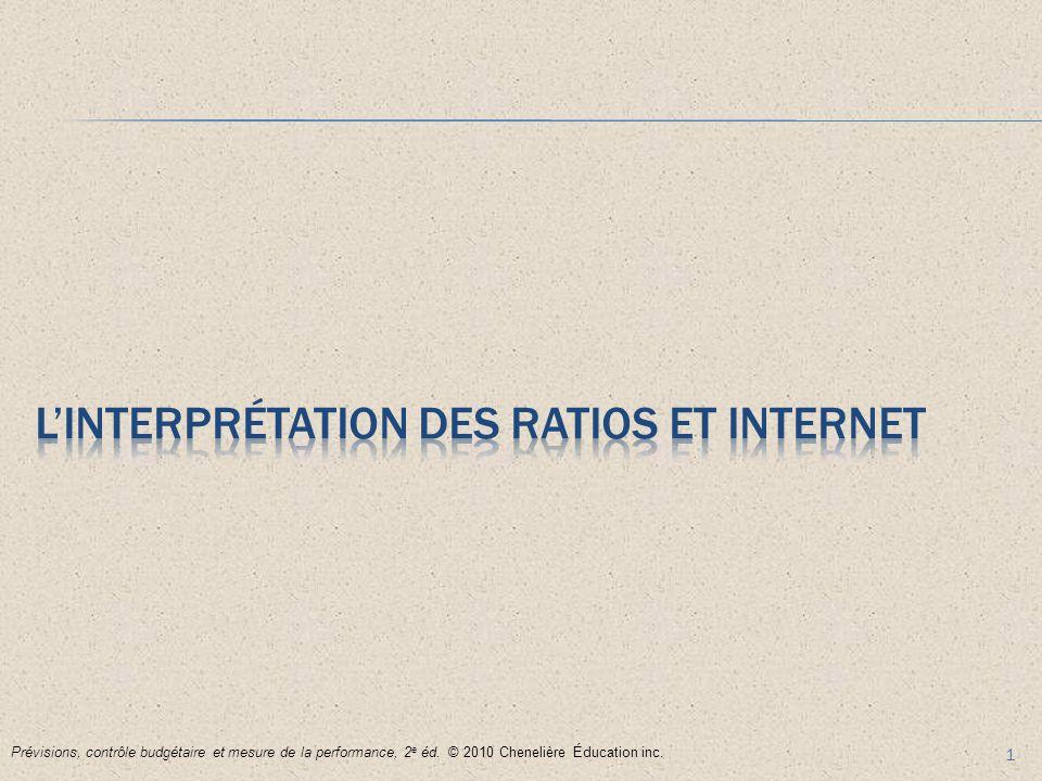 1 Prévisions, contrôle budgétaire et mesure de la performance, 2 e éd. © 2010 Chenelière Éducation inc.