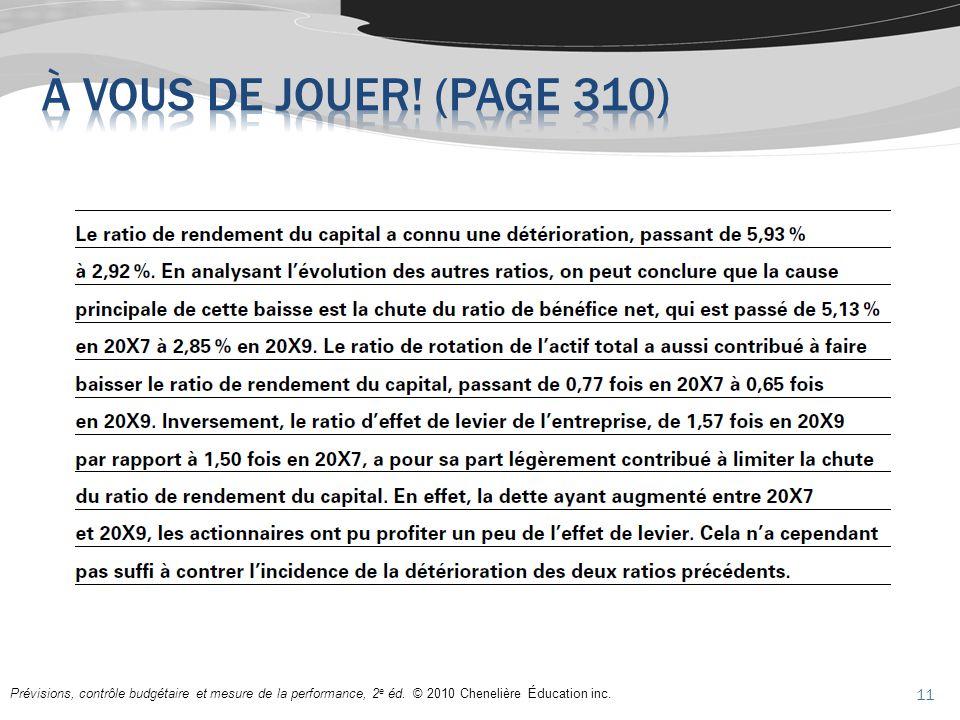 Prévisions, contrôle budgétaire et mesure de la performance, 2 e éd. © 2010 Chenelière Éducation inc. 11