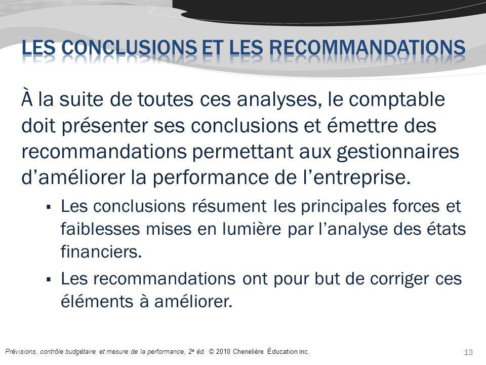 À la suite de toutes ces analyses, le comptable doit présenter ses conclusions et émettre des recommandations permettant aux gestionnaires daméliorer