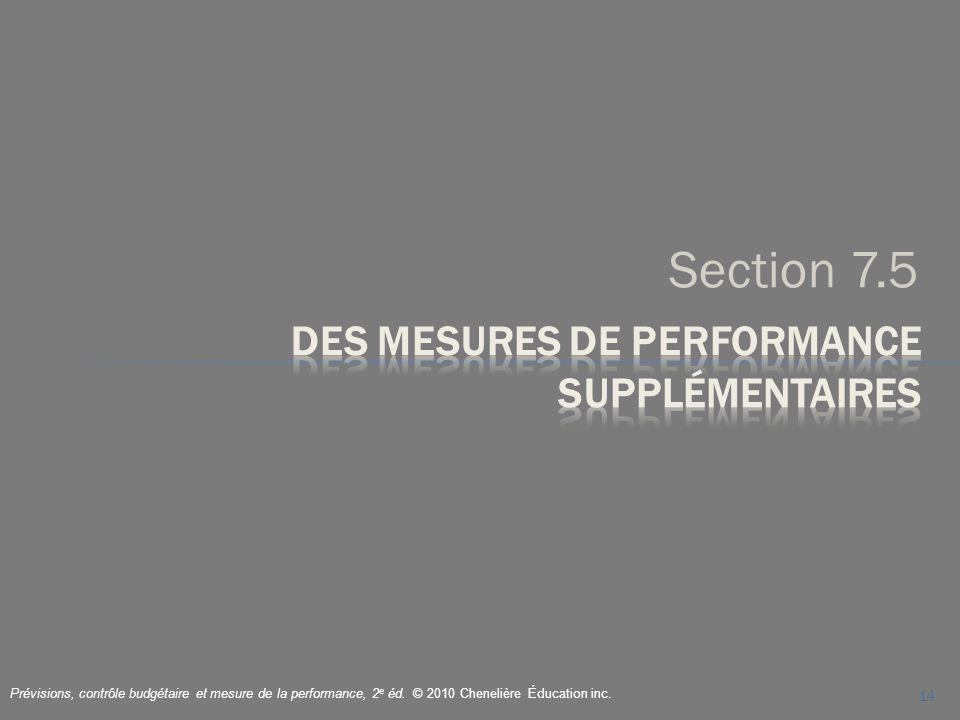 Section 7.5 14 Prévisions, contrôle budgétaire et mesure de la performance, 2 e éd. © 2010 Chenelière Éducation inc.