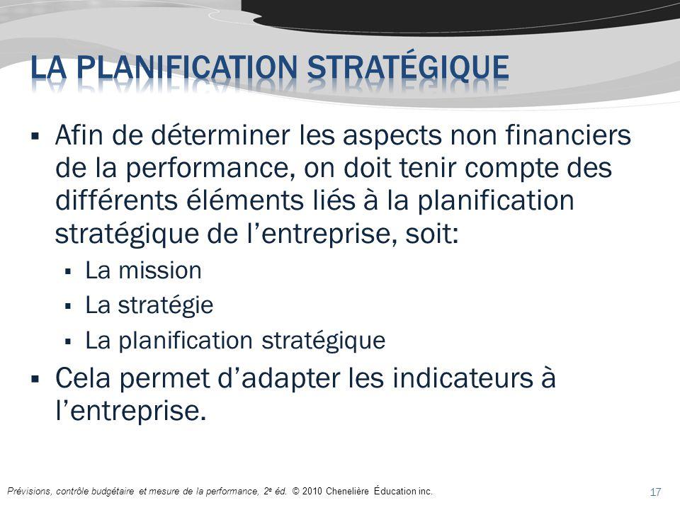 Prévisions, contrôle budgétaire et mesure de la performance, 2 e éd. © 2010 Chenelière Éducation inc. Afin de déterminer les aspects non financiers de