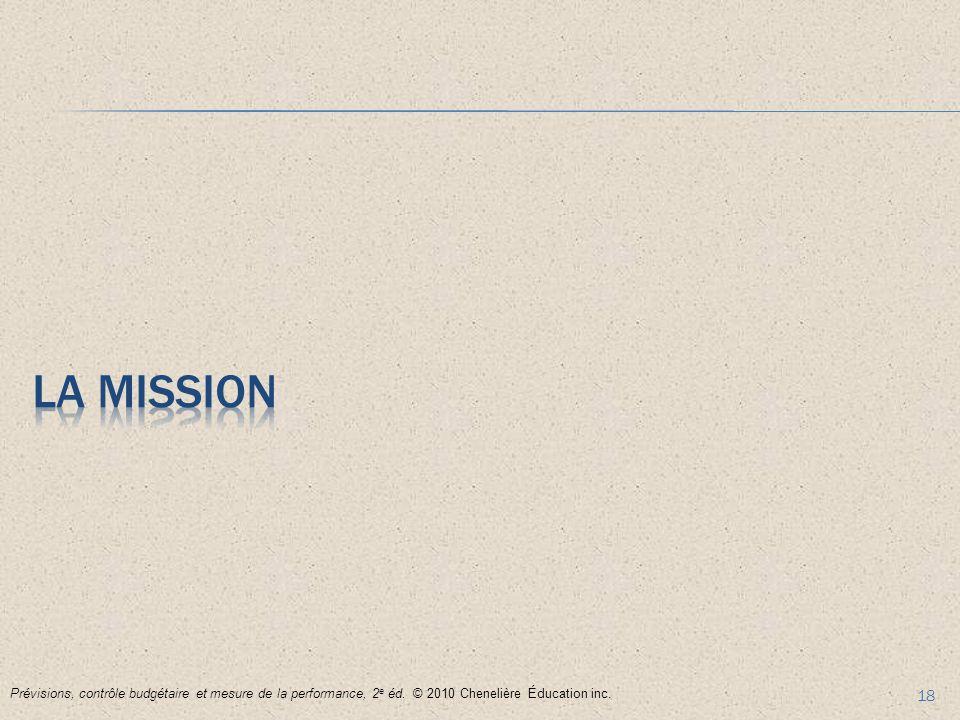 18 Prévisions, contrôle budgétaire et mesure de la performance, 2 e éd. © 2010 Chenelière Éducation inc.