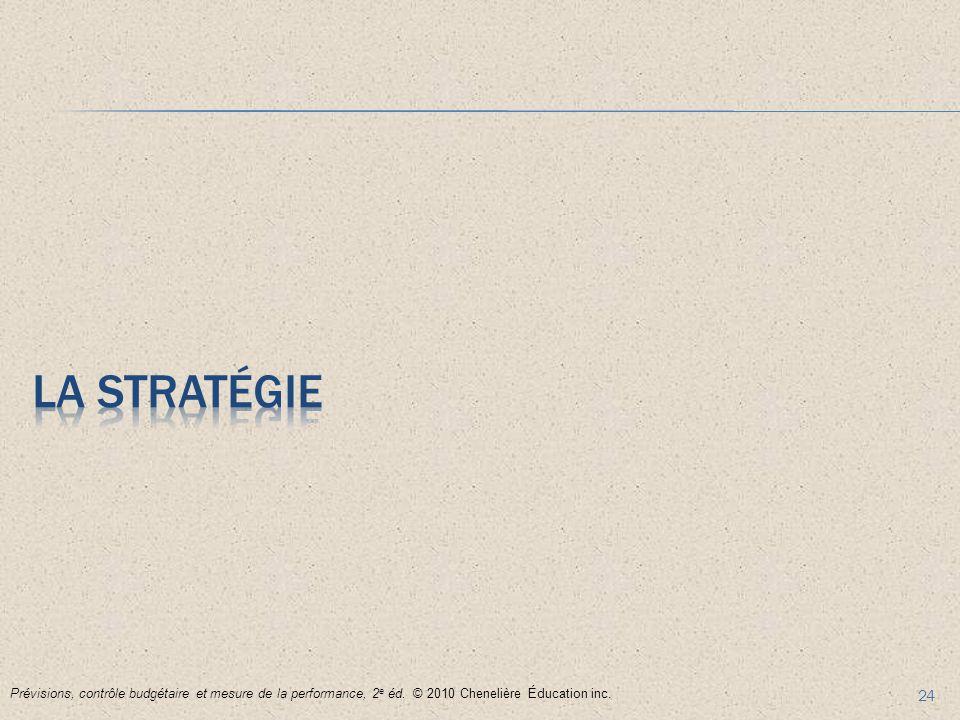24 Prévisions, contrôle budgétaire et mesure de la performance, 2 e éd. © 2010 Chenelière Éducation inc.