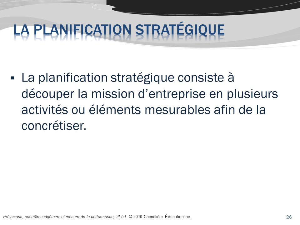 Prévisions, contrôle budgétaire et mesure de la performance, 2 e éd. © 2010 Chenelière Éducation inc. La planification stratégique consiste à découper