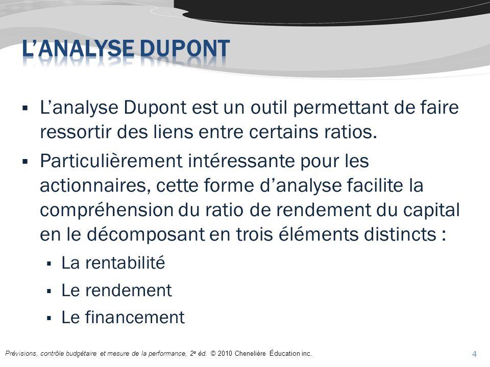Lanalyse Dupont est un outil permettant de faire ressortir des liens entre certains ratios. Particulièrement intéressante pour les actionnaires, cette