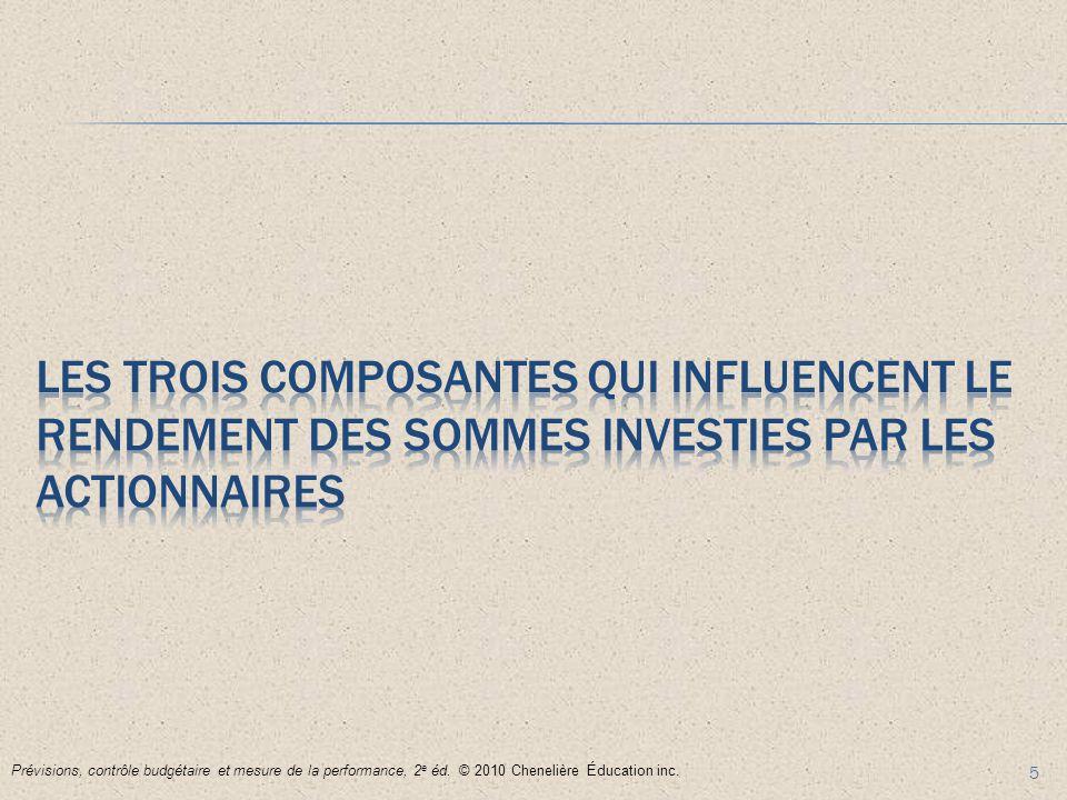 5 Prévisions, contrôle budgétaire et mesure de la performance, 2 e éd. © 2010 Chenelière Éducation inc.