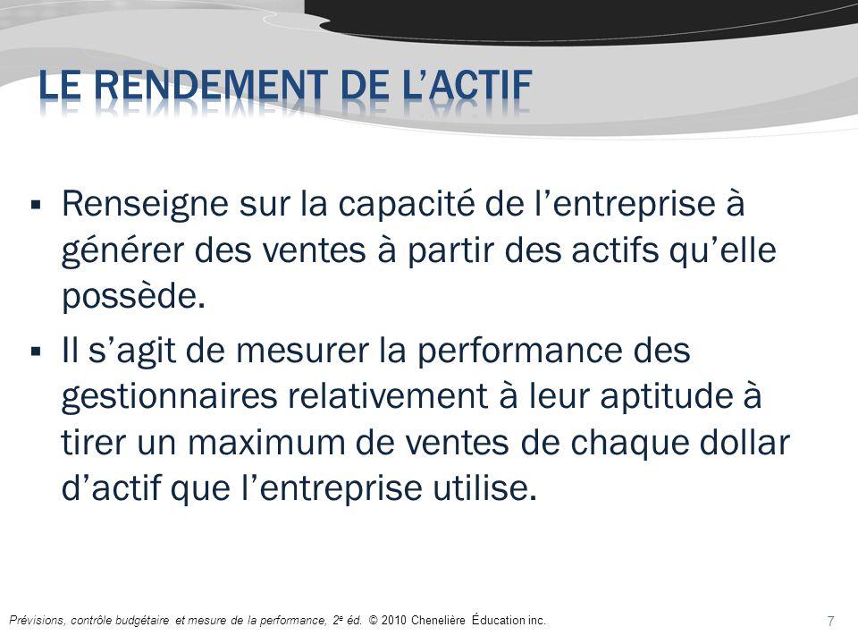 Prévisions, contrôle budgétaire et mesure de la performance, 2 e éd. © 2010 Chenelière Éducation inc. Renseigne sur la capacité de lentreprise à génér