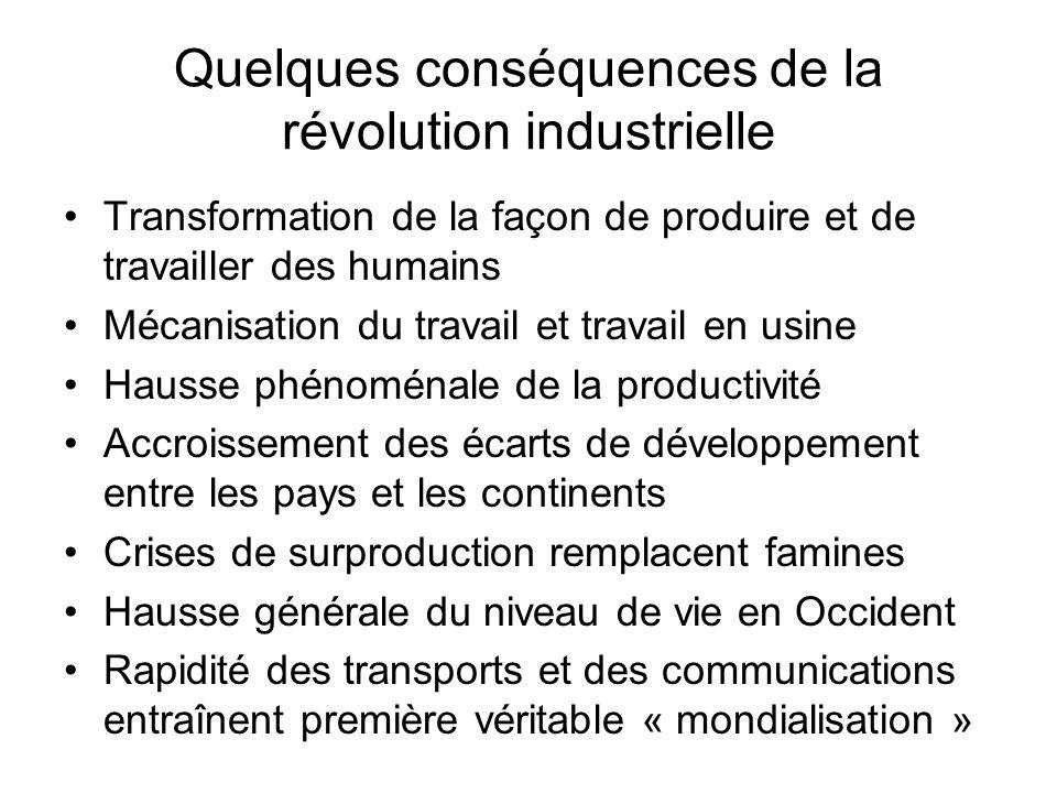 Quelques conséquences de la révolution industrielle Transformation de la façon de produire et de travailler des humains Mécanisation du travail et tra