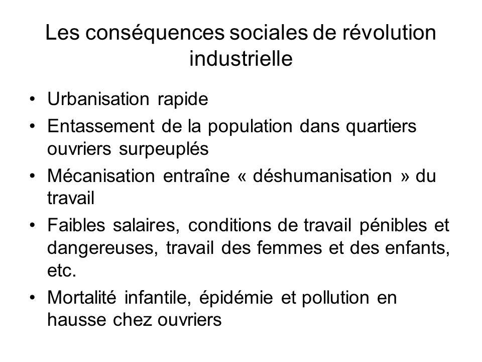 Les conséquences sociales de révolution industrielle Urbanisation rapide Entassement de la population dans quartiers ouvriers surpeuplés Mécanisation