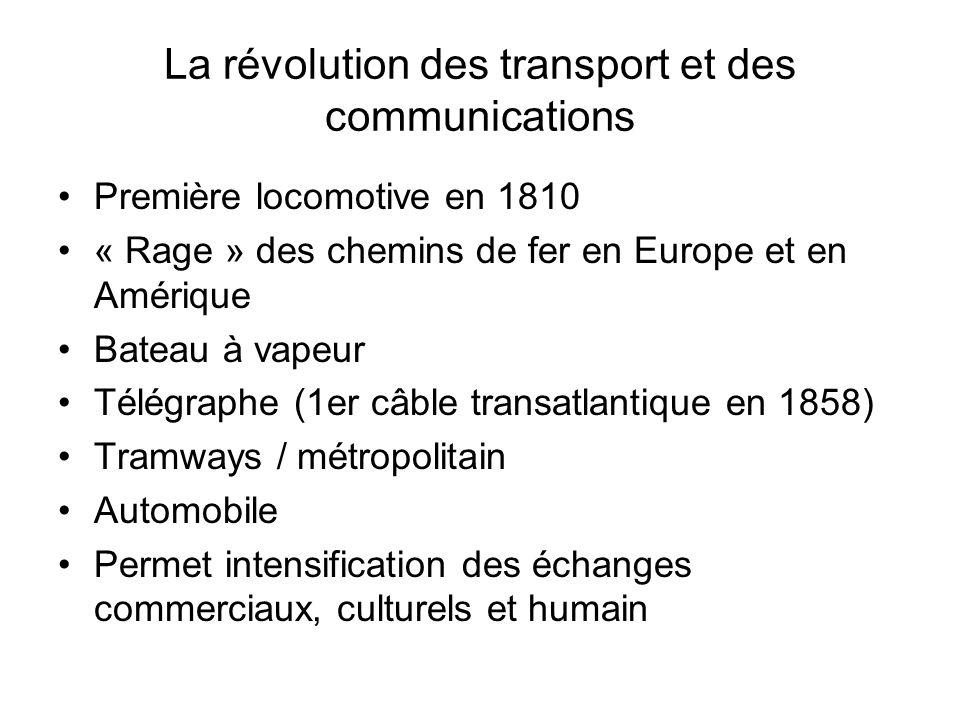 La révolution des transport et des communications Première locomotive en 1810 « Rage » des chemins de fer en Europe et en Amérique Bateau à vapeur Tél