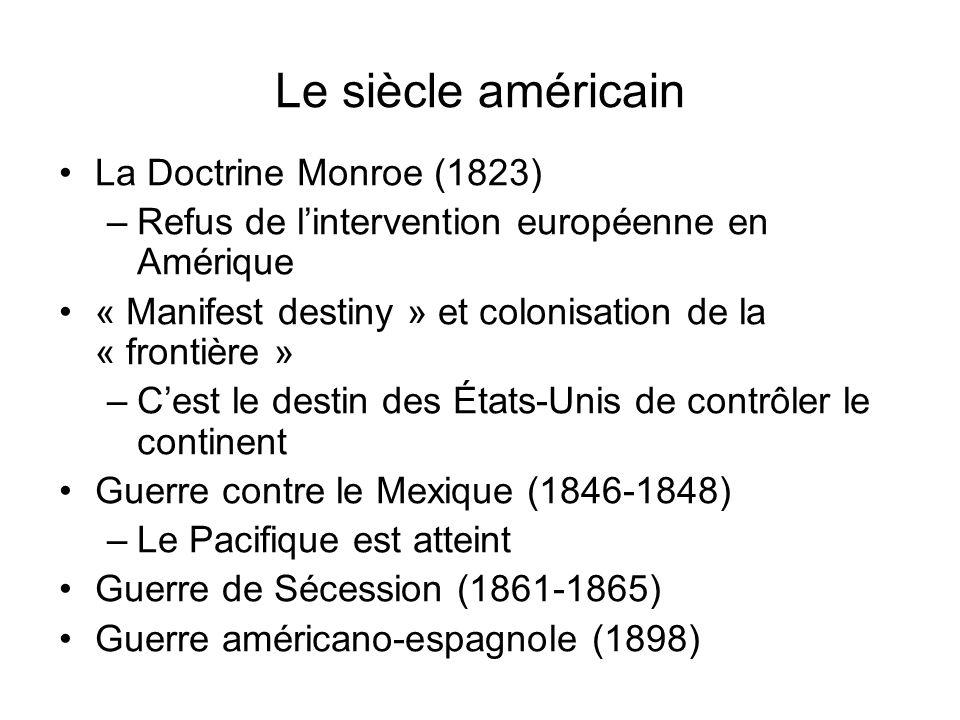 Le siècle américain La Doctrine Monroe (1823) –Refus de lintervention européenne en Amérique « Manifest destiny » et colonisation de la « frontière »
