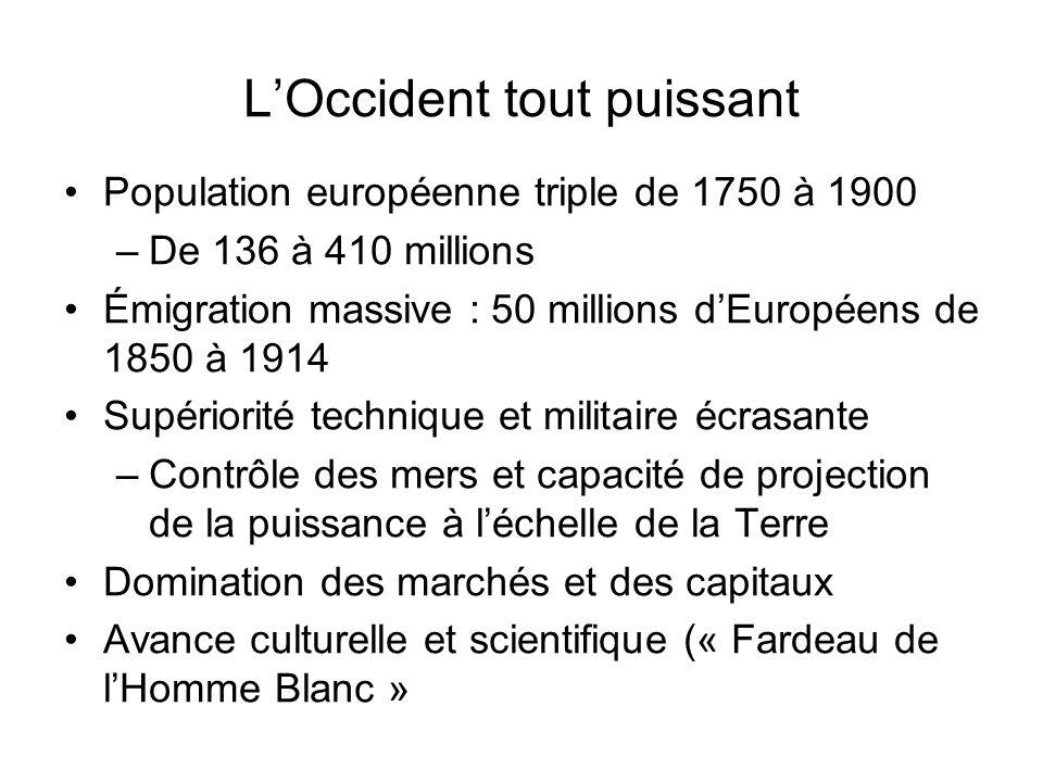 LOccident tout puissant Population européenne triple de 1750 à 1900 –De 136 à 410 millions Émigration massive : 50 millions dEuropéens de 1850 à 1914