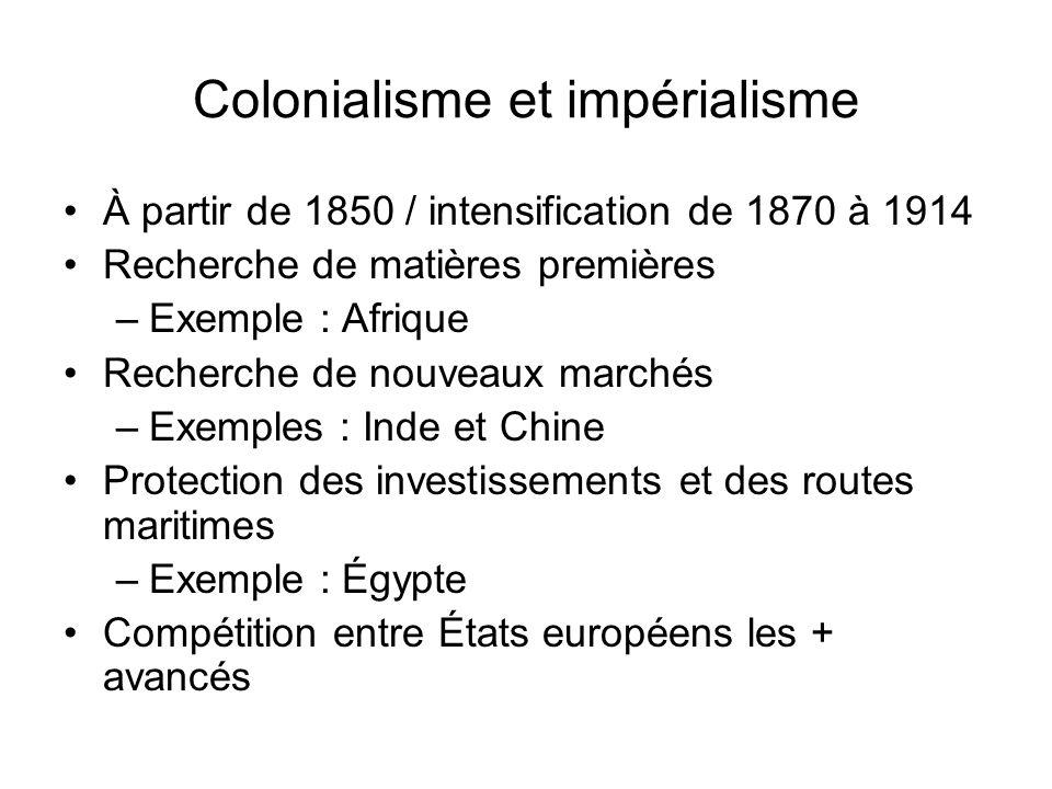 Colonialisme et impérialisme À partir de 1850 / intensification de 1870 à 1914 Recherche de matières premières –Exemple : Afrique Recherche de nouveau