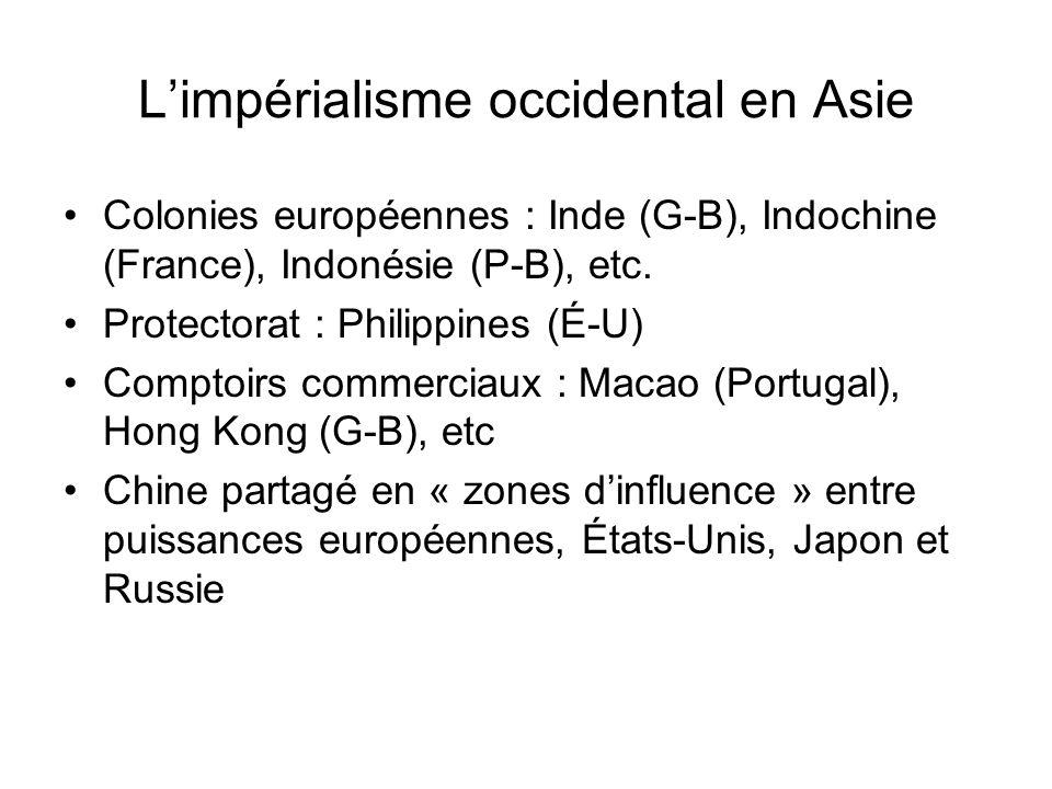 Limpérialisme occidental en Asie Colonies européennes : Inde (G-B), Indochine (France), Indonésie (P-B), etc. Protectorat : Philippines (É-U) Comptoir