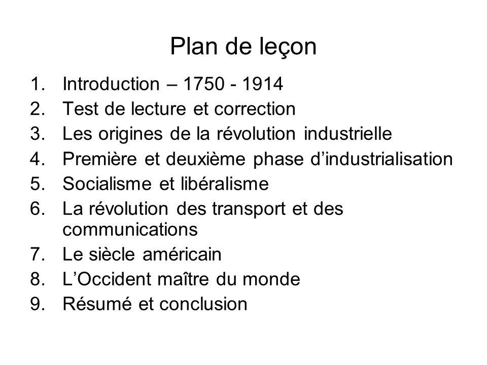 Plan de leçon 1.Introduction – 1750 - 1914 2.Test de lecture et correction 3.Les origines de la révolution industrielle 4.Première et deuxième phase d