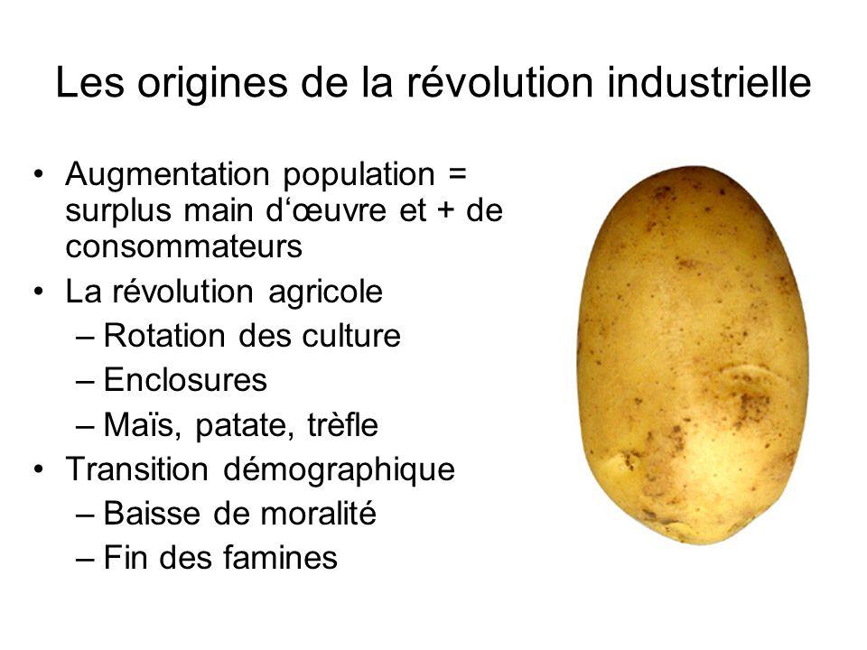 Les origines de la révolution industrielle Augmentation population = surplus main dœuvre et + de consommateurs La révolution agricole –Rotation des cu