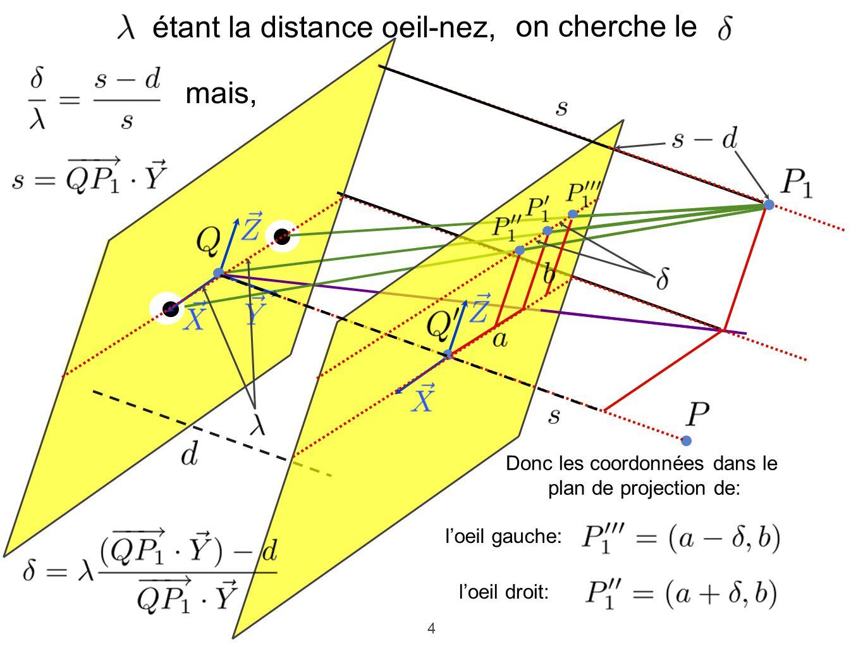 4 on cherche le étant la distance oeil-nez, mais, Donc les coordonnées dans le plan de projection de: loeil gauche: loeil droit: