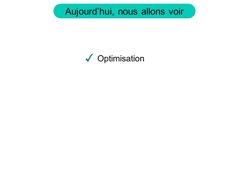 Aujourdhui, nous allons voir Optimisation