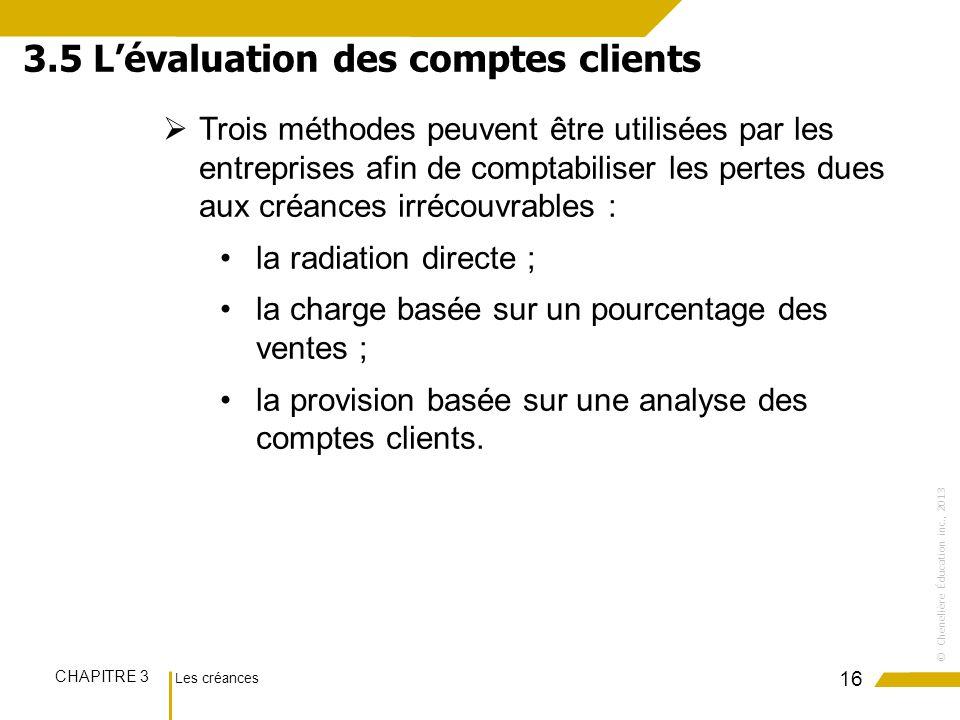 Les créances CHAPITRE 3 ©Chenelière Éducation inc., 2013 Trois méthodes peuvent être utilisées par les entreprises afin de comptabiliser les pertes du