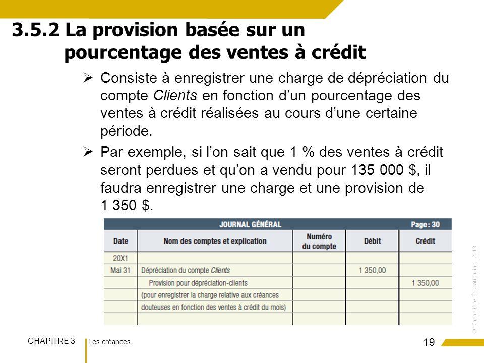 Les créances CHAPITRE 3 ©Chenelière Éducation inc., 2013 Consiste à enregistrer une charge de dépréciation du compte Clients en fonction dun pourcenta