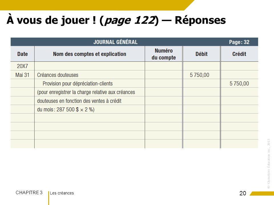 Les créances CHAPITRE 3 ©Chenelière Éducation inc., 2013 20 À vous de jouer ! (page 122) Réponses
