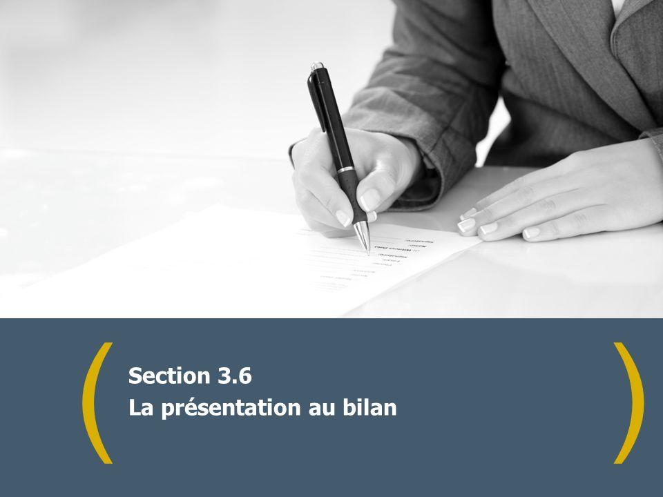 () Section 3.6 La présentation au bilan