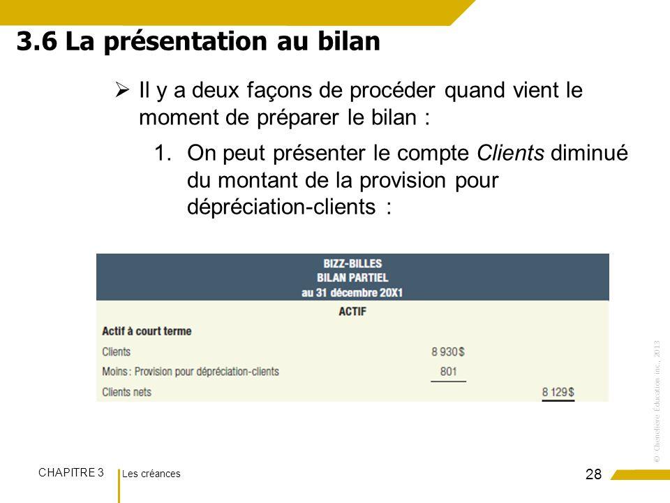Les créances CHAPITRE 3 ©Chenelière Éducation inc., 2013 Il y a deux façons de procéder quand vient le moment de préparer le bilan : 1.