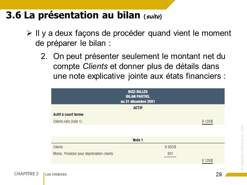 Les créances CHAPITRE 3 ©Chenelière Éducation inc., 2013 Il y a deux façons de procéder quand vient le moment de préparer le bilan : 2.