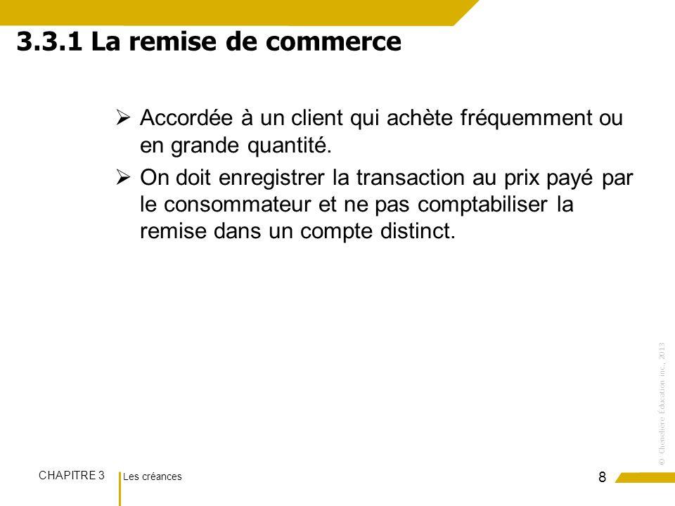 Les créances CHAPITRE 3 ©Chenelière Éducation inc., 2013 La note de crédit est émise lorsquun client reçoit une marchandise défectueuse ou quil naurait pas commandée.