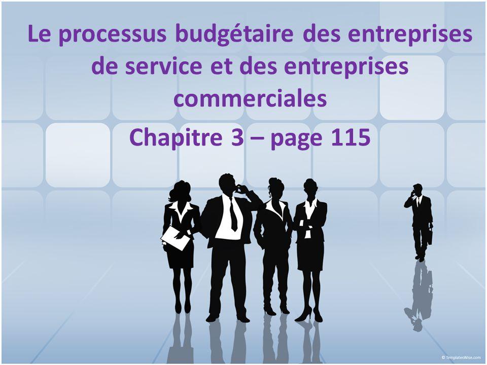 CHAPITRE 3 Le processus budgétaire des entreprises de service et des entreprises commerciales 1 Chapitre 3 – page 115