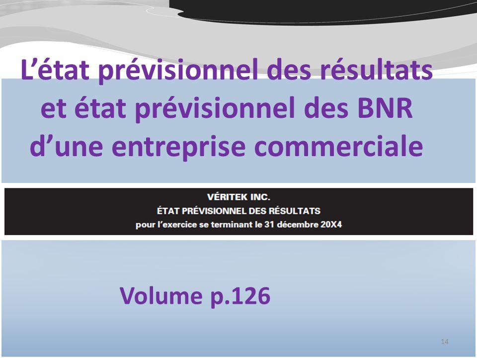 Létat prévisionnel des résultats et état prévisionnel des BNR dune entreprise commerciale 14 Volume p.126