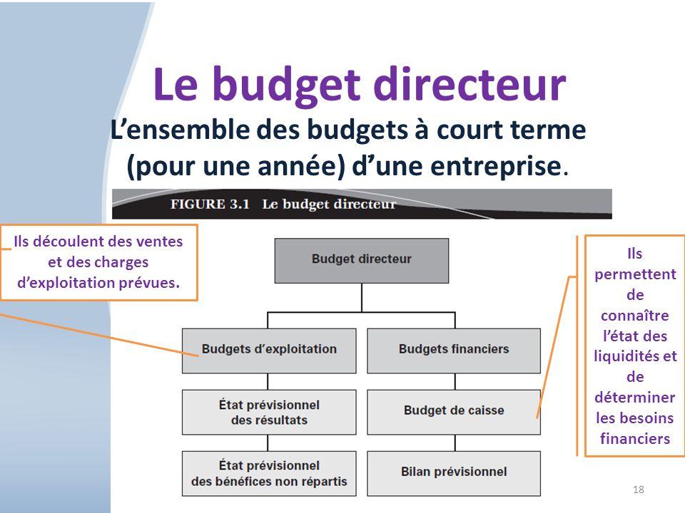 18 Le budget directeur. Lensemble des budgets à court terme (pour une année) dune entreprise. Ils découlent des ventes et des charges dexploitation pr