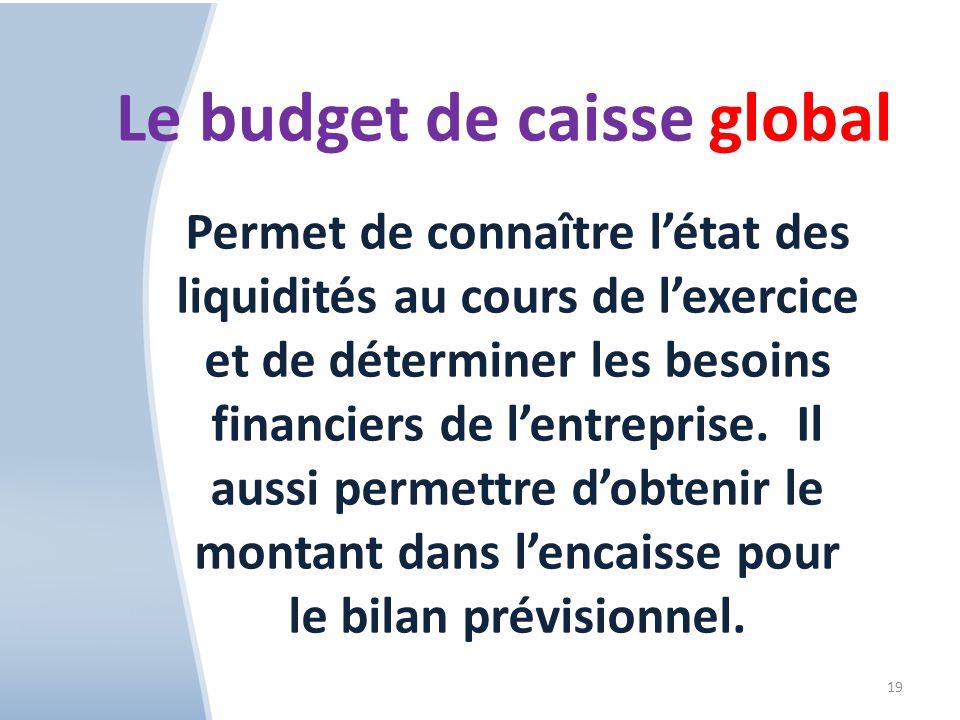 19 Le budget de caisse global Permet de connaître létat des liquidités au cours de lexercice et de déterminer les besoins financiers de lentreprise.