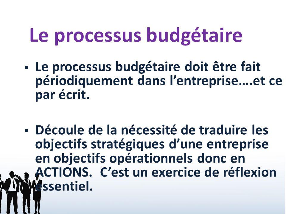 2 Le processus budgétaire doit être fait périodiquement dans lentreprise….et ce par écrit. Découle de la nécessité de traduire les objectifs stratégiq