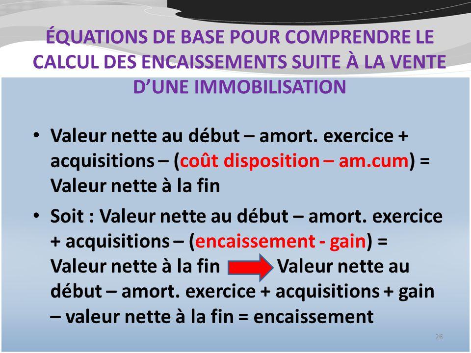 ÉQUATIONS DE BASE POUR COMPRENDRE LE CALCUL DES ENCAISSEMENTS SUITE À LA VENTE DUNE IMMOBILISATION Valeur nette au début – amort.