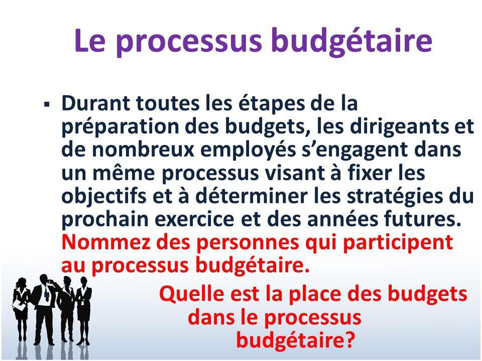 3 Durant toutes les étapes de la préparation des budgets, les dirigeants et de nombreux employés sengagent dans un même processus visant à fixer les o