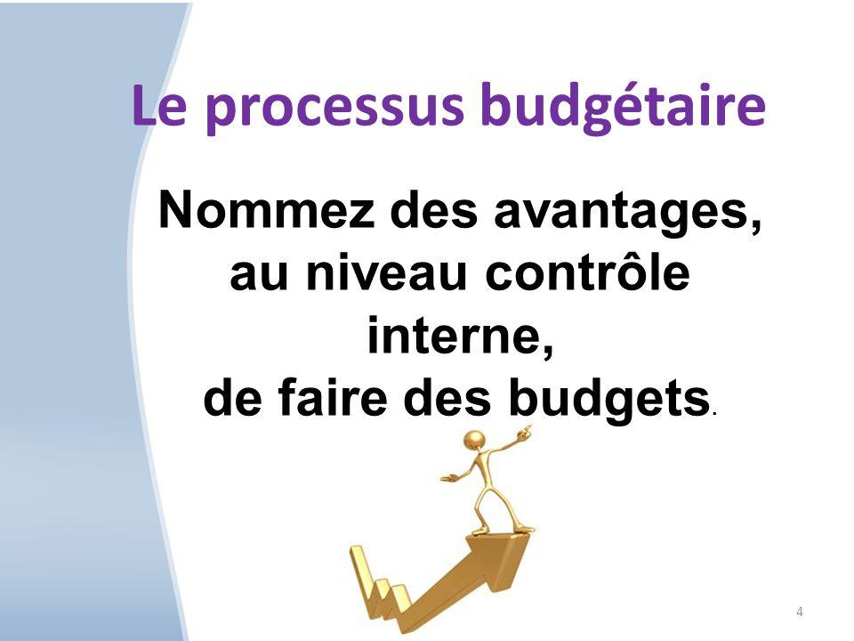 4 Nommez des avantages, au niveau contrôle interne, de faire des budgets.